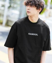 ▽WEB限定 MONO-MART×KANGOL 別注ロゴ刺繍 プリント半袖Tee オーバーサイズカットソーブラック