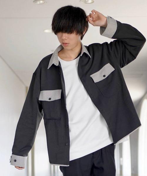ファッションインフルエンサー ぼーん × BASQUE magemta TR 配色切り替えCPOシャツ