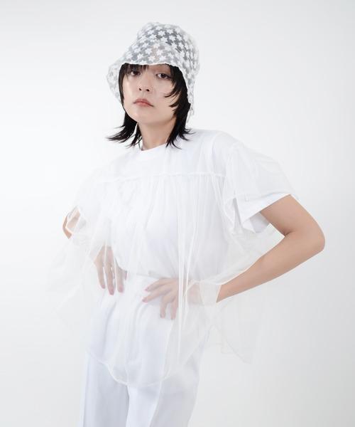 Narcissus(ナルシス)の「【cheap!!by vaNite】チュールTシャツ(シャツ/ブラウス)」 ホワイト