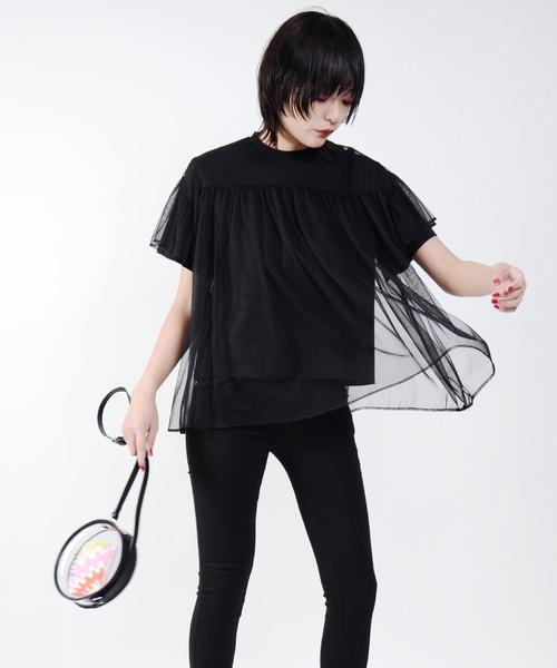 Narcissus(ナルシス)の「【cheap!!by vaNite】チュールTシャツ(シャツ/ブラウス)」|ブラック