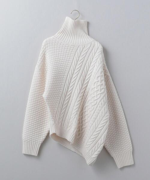 <6(ROKU)>WOOL CASHMERE CABLE TURTLE NECK KNIT/ニット