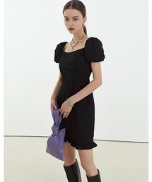 【Fano Studios】【2021SS】Square neck puff sleeve short dress FC21L021ブラック