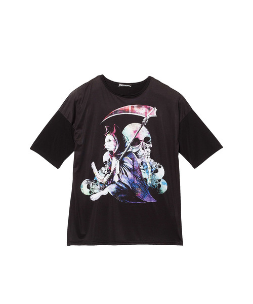 ankoROCKホラーナイト死神ネコTシャツ -メガビッグ-