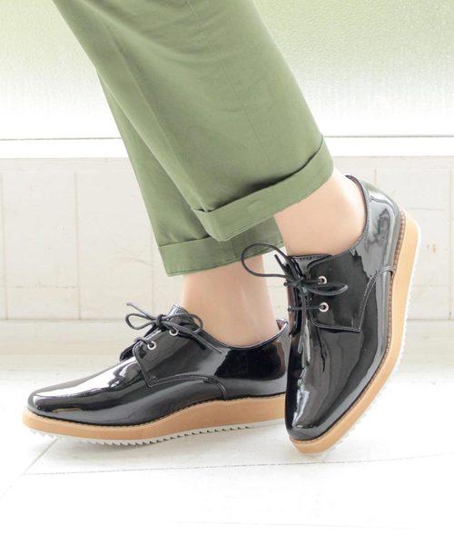 SOROTTO(ソロット)の「オックスフォードシューズ 厚底靴 マニッシュ エナメルレースアップシューズ (LADYS)(スニーカー)」|ブラック