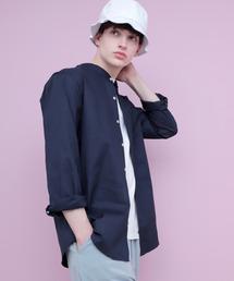 【WEB限定】LINEN×COTTONオーバーサイズストレッチバンドカラーシャツネイビー