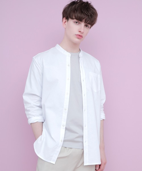 LINEN×COTTONオーバーサイズストレッチバンドカラーシャツ