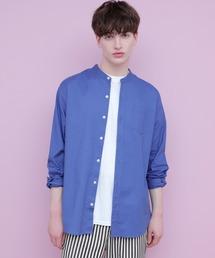 【WEB限定】LINEN×COTTONオーバーサイズストレッチバンドカラーシャツブルー