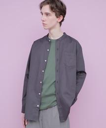 【WEB限定】LINEN×COTTONオーバーサイズストレッチバンドカラーシャツチャコール