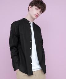 【WEB限定】LINEN×COTTONオーバーサイズストレッチバンドカラーシャツブラック