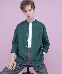 【WEB限定】LINEN×COTTONオーバーサイズストレッチバンドカラーシャツダークグリーン