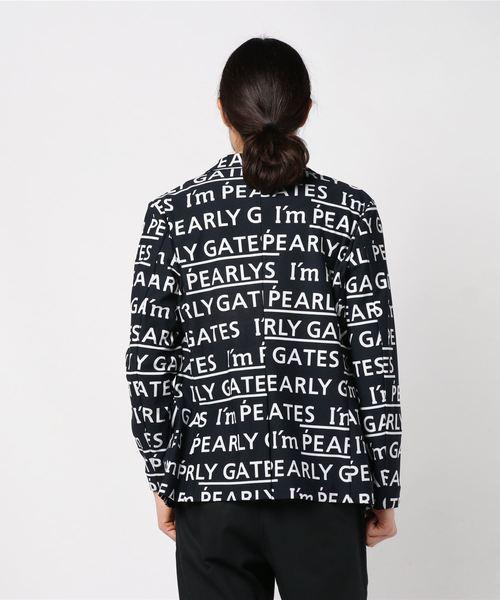 【PEARLY GATES】 ナイロン メッシュ トリコット ロゴ柄プリント ジャケット <I'm PEARLY GATESロゴプリント>