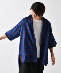 Lui's(ルイス)のチェックスリット ビッグシルエット 5分袖シャツ(シャツ/ブラウス)