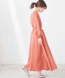 natural couture(ナチュラルクチュール)の変形シャーリングレディロングワンピ(ワンピース)