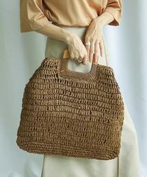 select MOCA(セレクトモカ)のナチュラルバスケットバッグ(内ポケット付き持ち手ウッド素材編み上げバッグ)(かごバッグ)
