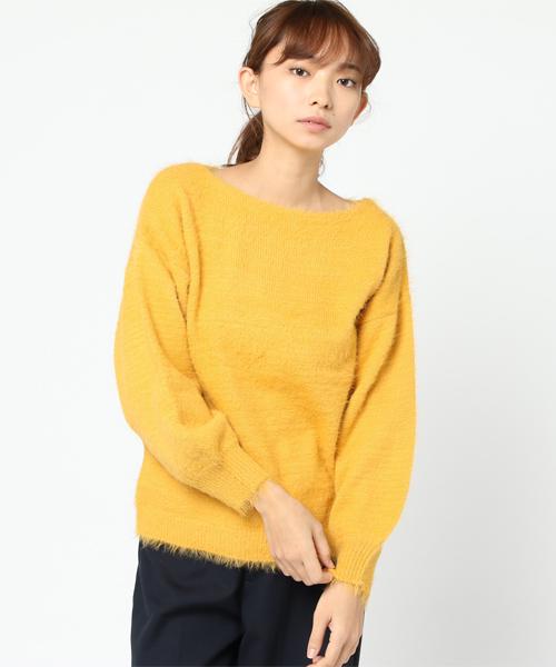 【Burner for women】Nyシャギー 袖バルーン ニット,.