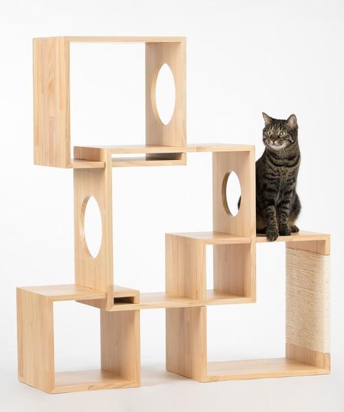 猫用おもちゃ キャットタワー 木製 据え置き 4個セット