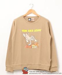 【TOM and JERRY/トム&ジェリー】 裏毛トレーナー 袖プリント ユニセックスベージュ