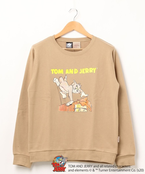 【TOM and JERRY/トム&ジェリー】 裏毛トレーナー 袖プリント ユニセックス
