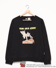【TOM and JERRY/トム&ジェリー】 裏毛トレーナー 袖プリント ユニセックスブラック