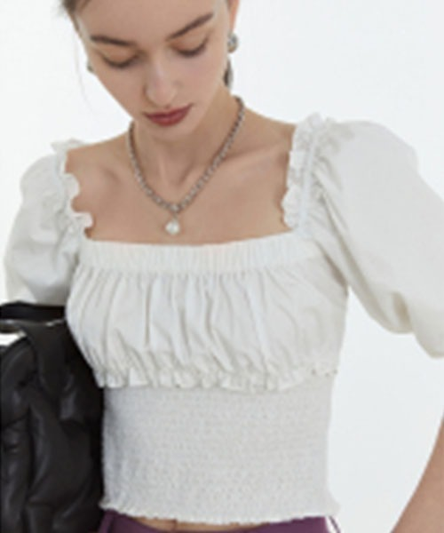 【Fano Studios】【2021SS】Square neck puff sleeve short frilled blouse FC21S117