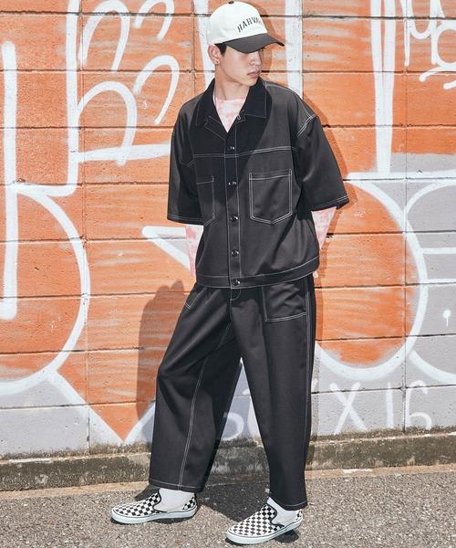 <セットアップ>T/R ストレッチ オーバーサイズ ステッチ 半袖 CPOシャツジャケット&ベイカーワイドアンクルパンツ -2021 SUMMER-