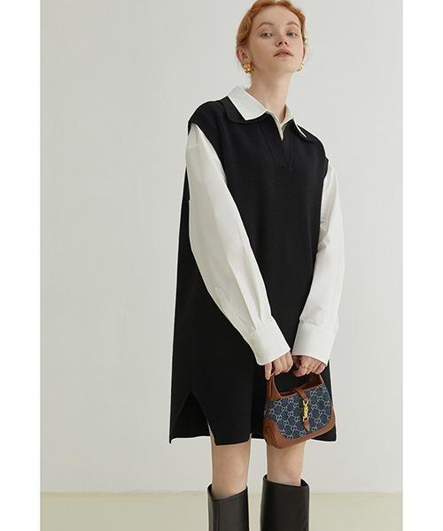 【Fano Studios】【2021AW】Polo vest sweater dress FQ21L021