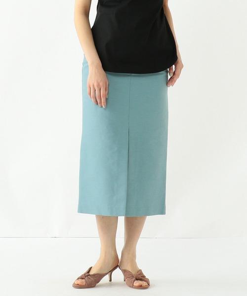 Demi-Luxe BEAMS(デミルクス ビームス)の「Demi-Luxe BEAMS / コットンシルク スリットタイトスカート(スカート)」 サックスブルー
