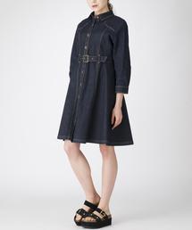 BLUE LABEL CRESTBRIDGE(ブルーレーベル・クレストブリッジ)のエレガントハイストレッチデニムシャツドレス(シャツワンピース)