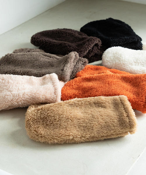【WEB限定色⇒ブラック・ミディアムブラウン・ライトピンク】フリースミトン(グローブ/手袋)