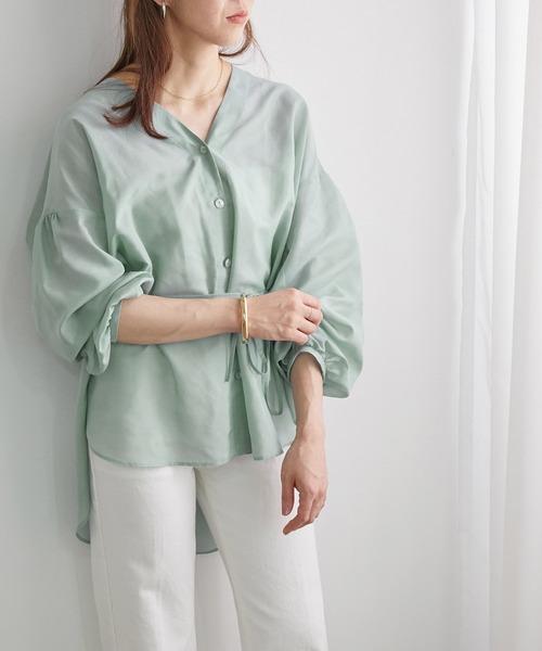 ROPE' mademoiselle(ロペマドモアゼル)の「ブライトシアーチュニックシャツ(シャツ/ブラウス)」|モスグリーン
