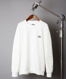 袖エンボスロゴ 防シワトレーナー/スウェット  UVカット 袖プリント ワンポイントブランドロゴホワイト