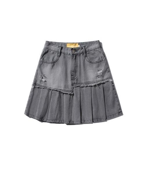 【MAINBOOTH 】ダメージデニムスカート / Damage Denim Skirt