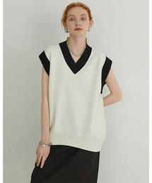 【Fano Studios】【2021AW】Contrasting color V-neck sweater vest FX21S288ホワイト