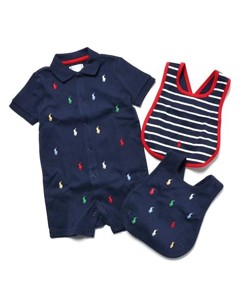 Polo Ralph Lauren Childrenswear(ポロ キッズ)の「オールオーバー ポニー ビブ & ショートオール(ベビーギフト)」|ネイビー