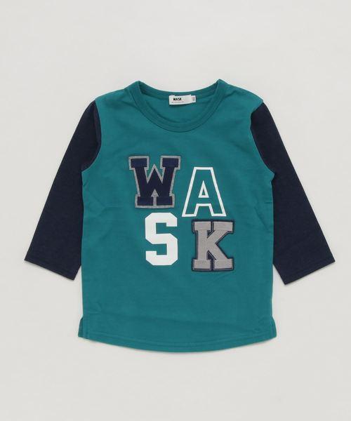 WASK/袖配色ワッペン7分袖Tシャツ(110cm~130cm)