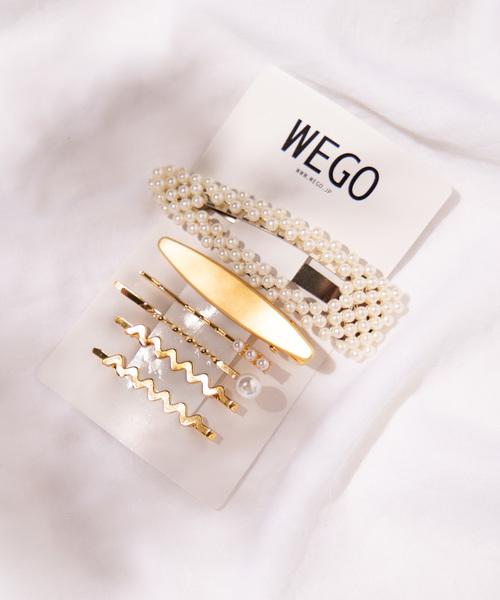 WEGO(ウィゴー)の「WEGO/【6点セット】パールセットピン(ヘアピン)」|ホワイト