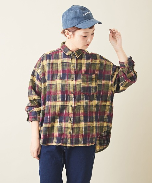 CUBE SUGAR(キューブシュガー)の「度甘ネル チェック ビッグシャツ(シャツ/ブラウス)」|グリーン系その他
