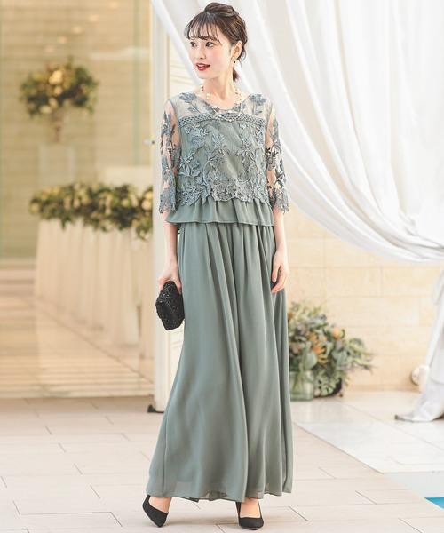 刺繍レース切り替え セットアップパンツドレス