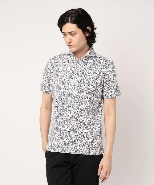 フラワープリントカノコポロシャツ
