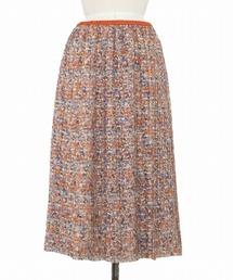 Drawer フラワープリント プリーツスカート