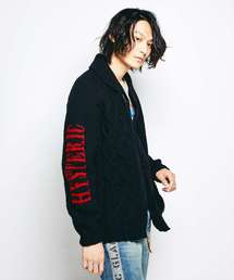CANADIAN SWEATER×HYSTERIC/HYSTERIC FACE編込 カウチンブラック