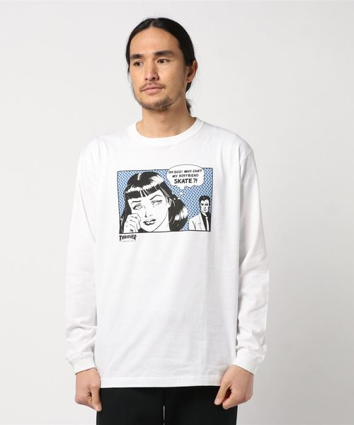 THRASHER BoyFriend L/S T-SHIRT (WHITE/HORIZON)