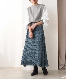 レザーカットマーメイドスカートグリーン