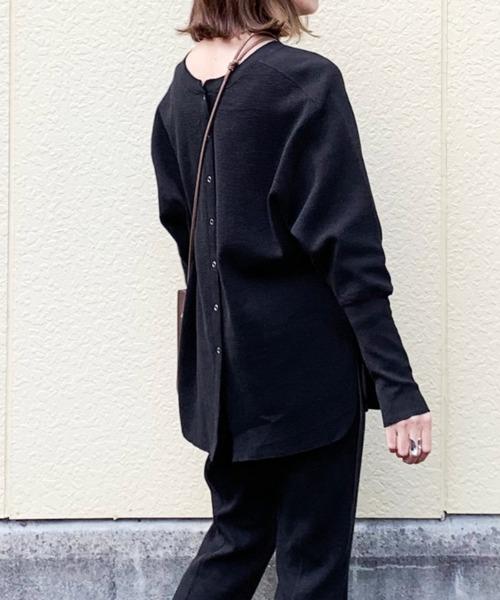 AZUL ENCANTO(アズールエンカント)の「マルチWAYワッフルプルオーバー(Tシャツ/カットソー)」|ブラック