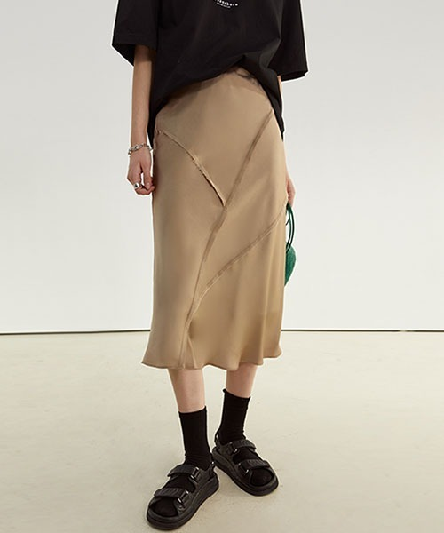 【Fano Studios】【2021SS】High waist drape semi-long skirt FC21B021
