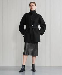 <H>WOOL CASHMERE BELTED COAT/コート
