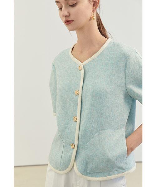 【Fano Studios】【2021SS】Mix yarn short sleeve casual Jacket FX21S198