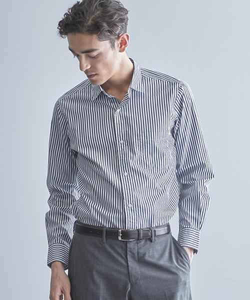 【WORK TRIP OUTFITS】NM コットン ストライプ ワイドカラー シャツ