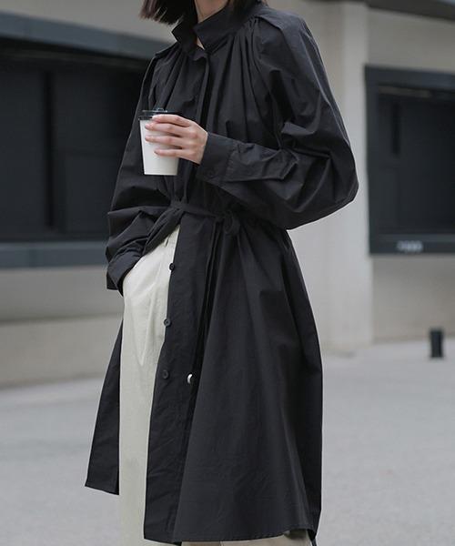 【chuclla】【2020/SS】スタンドカラー ボリュームロングシャツ chw1046
