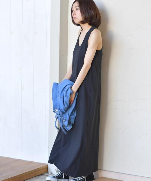 マキシ丈タンクワンピース